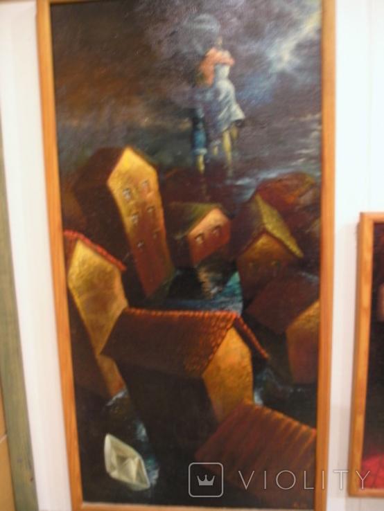 ,, Кораблик ,, сюрреализм холст масло рама 53х103, фото №3