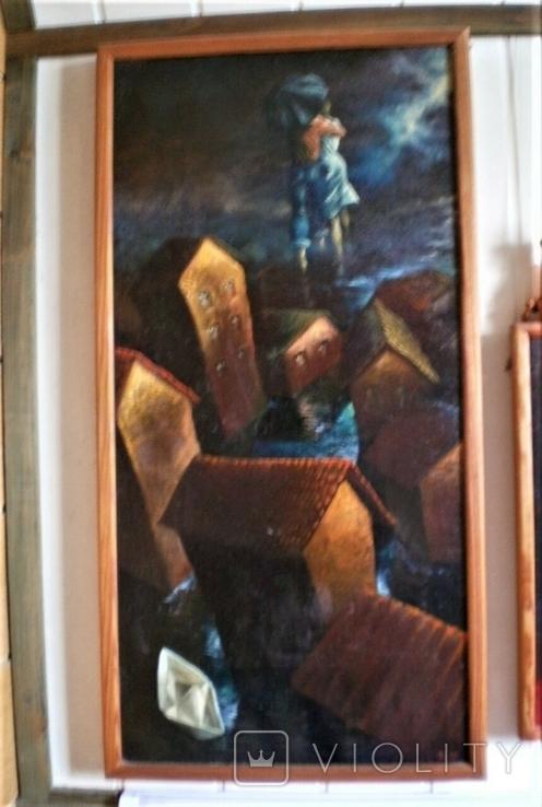 ,, Кораблик ,, сюрреализм холст масло рама 53х103, фото №2