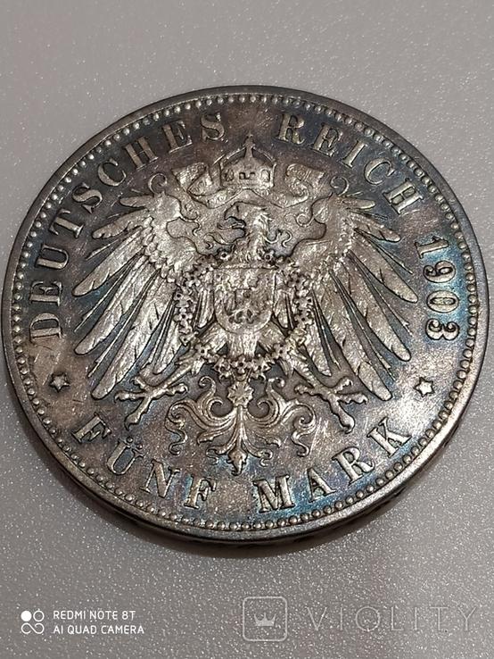 5 марок,1903 Вильгельм,Пруссия, фото №3
