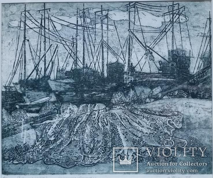 Кецало З. Рибальські сіти, 1975, змішана техніка, 35,5х41см5, фото №3