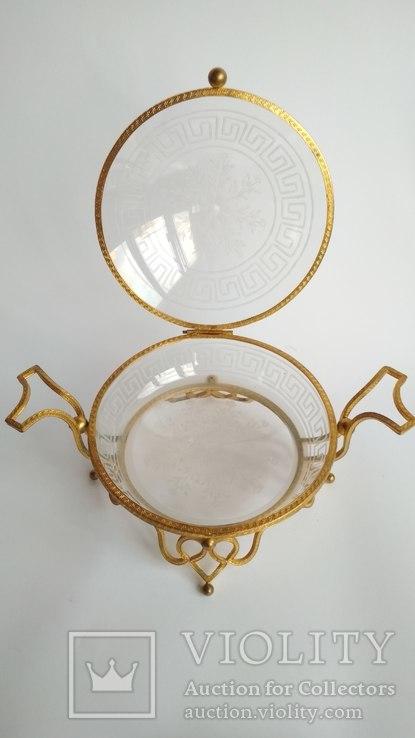 Старинная кофетница, Бисквитница. Бронза  резное стекло, фото №8