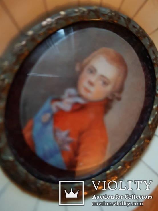 Миниатюрный портрет императора Павла в детстве с подписью автора Benner, фото №5