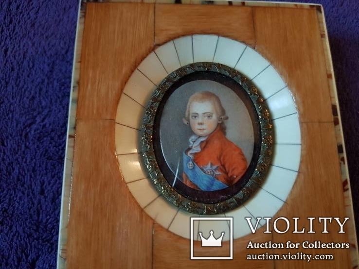 Миниатюрный портрет императора Павла в детстве с подписью автора Benner, фото №7