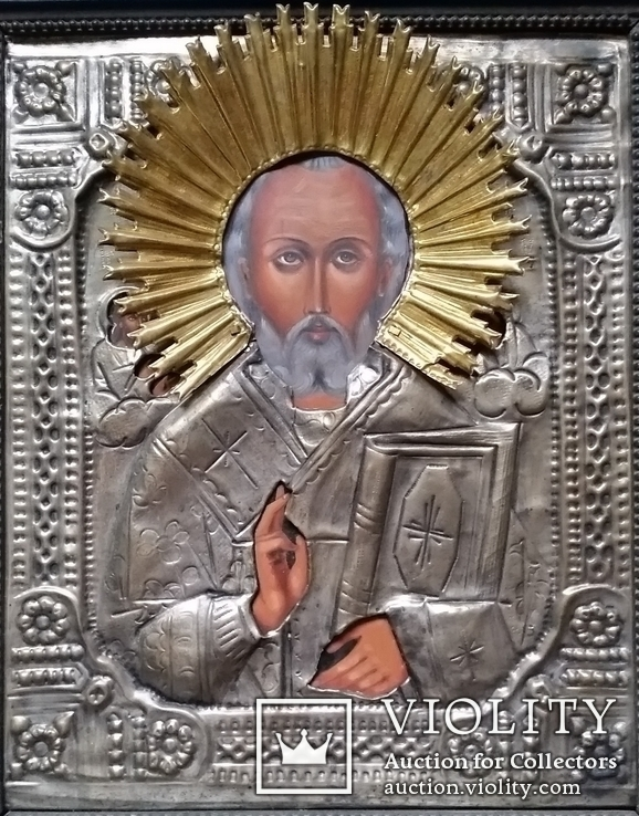 Ікона Микола Чудотворець, латунь, 31х26 см, фото №3