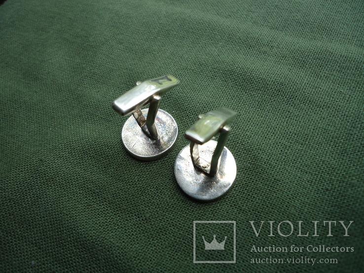 Запонки серебро 925, вставки золото 585, фото №8