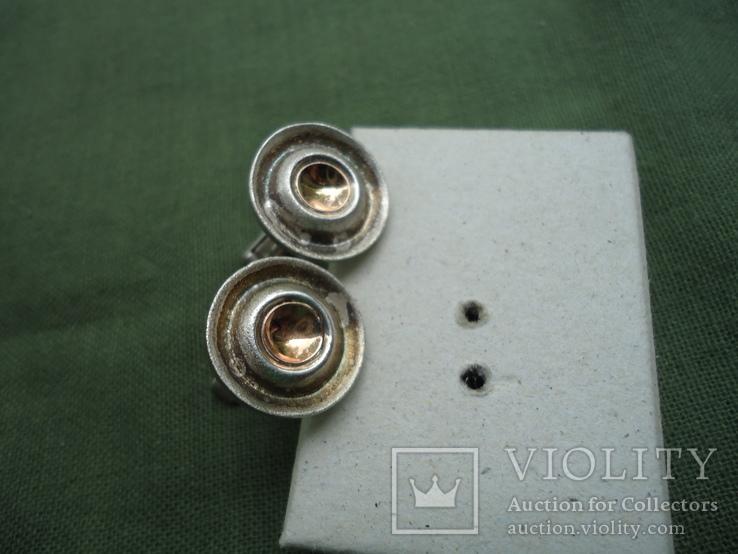 Запонки серебро 925, вставки золото 585, фото №10
