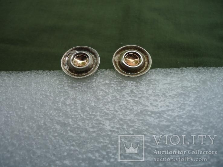 Запонки серебро 925, вставки золото 585, фото №12