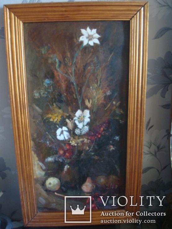 Картина Цветы,масло,картон 76/38см. 1997г. Микиша, фото №2