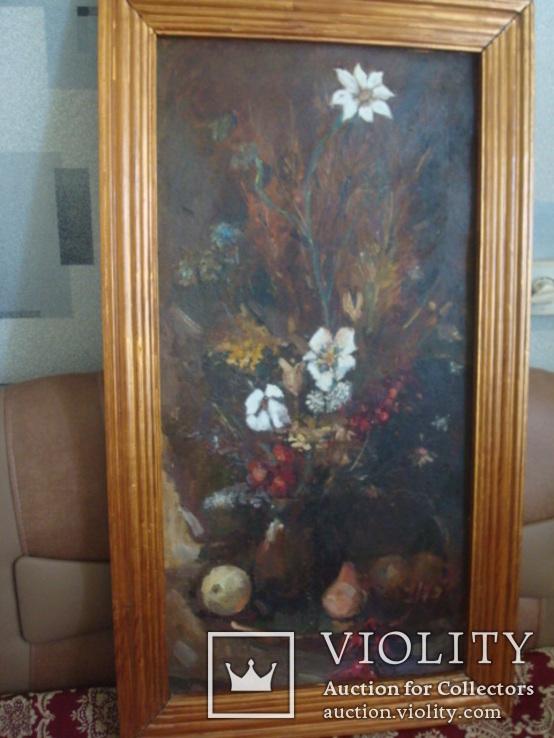 Картина Цветы,масло,картон 76/38см. 1997г. Микиша, фото №4