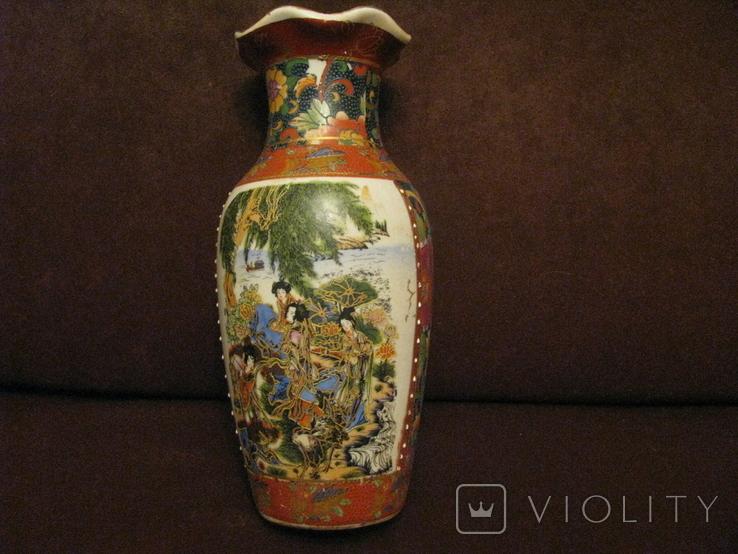Старая азиатская ваза - фарфор - высота - 25,5 см., фото №6