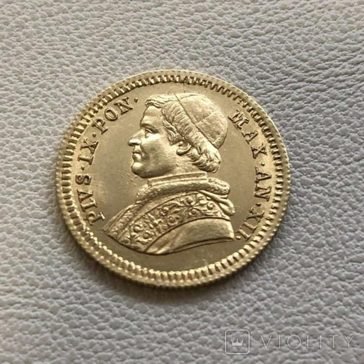 Ватикан 2,5 скуди 1857 год 4,33 грамма золота 900`, фото №2