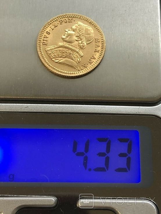 Ватикан 2,5 скуди 1857 год 4,33 грамма золота 900`, фото №4