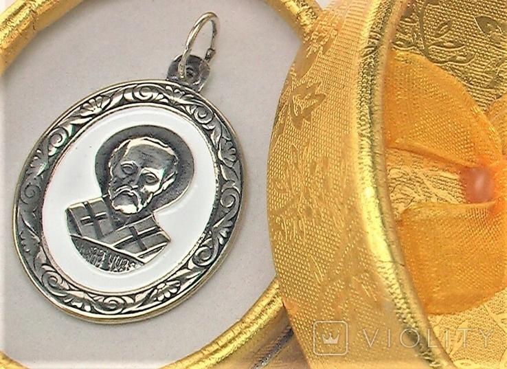 Подвеска медальон серебро 925 проба 4,31 грамма Николай чудотворец, фото №2