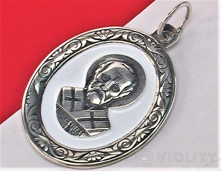 Подвеска медальон серебро 925 проба 4,31 грамма Николай чудотворец, фото №3