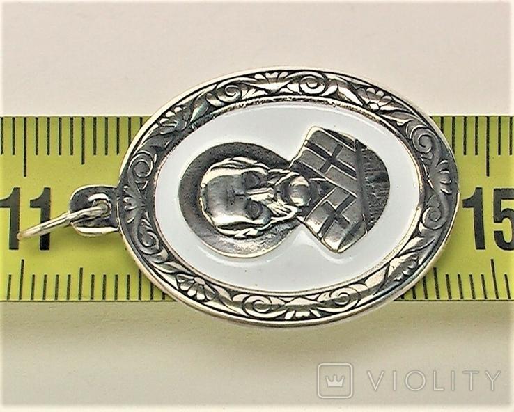 Подвеска медальон серебро 925 проба 4,31 грамма Николай чудотворец, фото №5