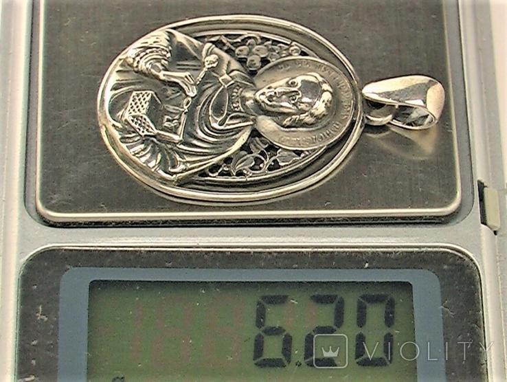 Подвеска медальон серебро 925 проба 6,20 грамма святой великомученик целитель Пантелеймон, фото №7