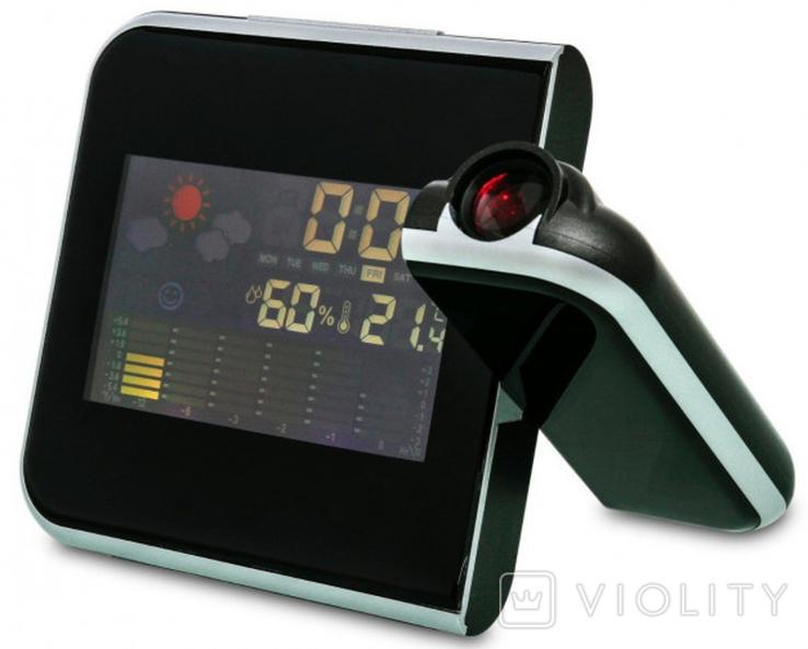 Настольные часы, метеостанция с проектором времени, фото №2