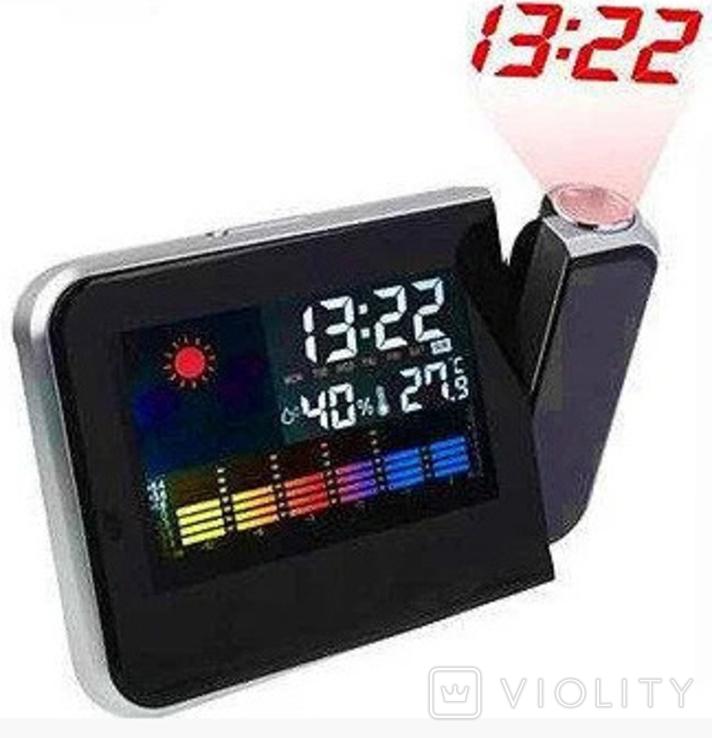 Настольные часы, метеостанция с проектором времени, фото №4
