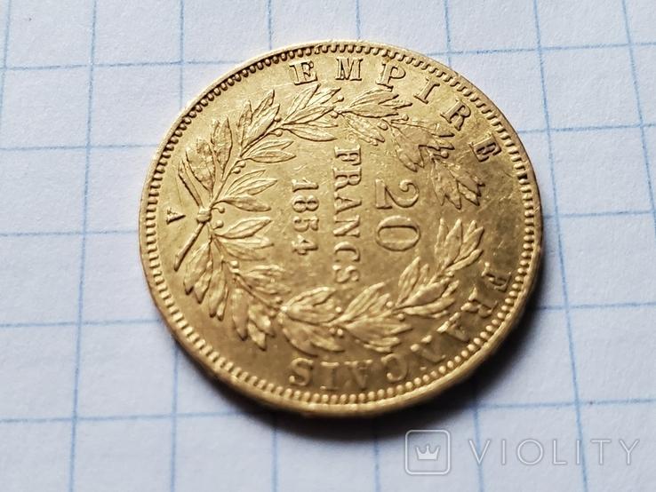 20 франков 1854 год,Франция,Наполеон III., фото №9
