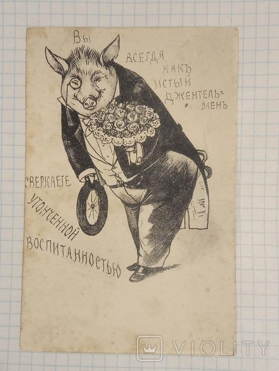 Стар. Сатирическая Открытка фот.Маркова. Киев №456 (Джентльмен..), фото №2