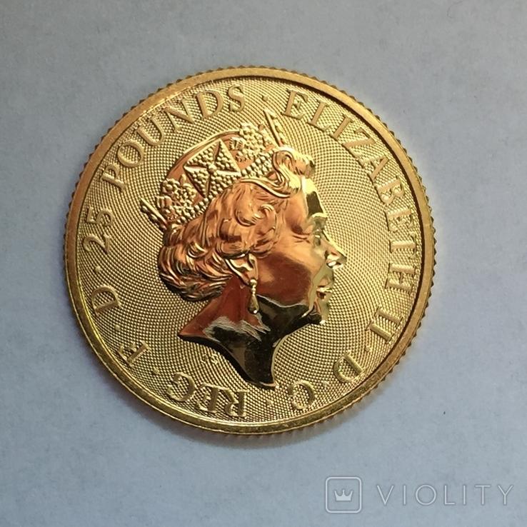 Золотая монета Великобритании Белая лошадь 2020 г.1/4 OZ(7,78 гр.), фото №8