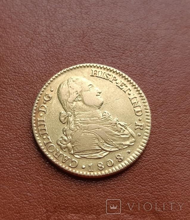 Золото. 2эскудо 1808 г. Испания, фото №7
