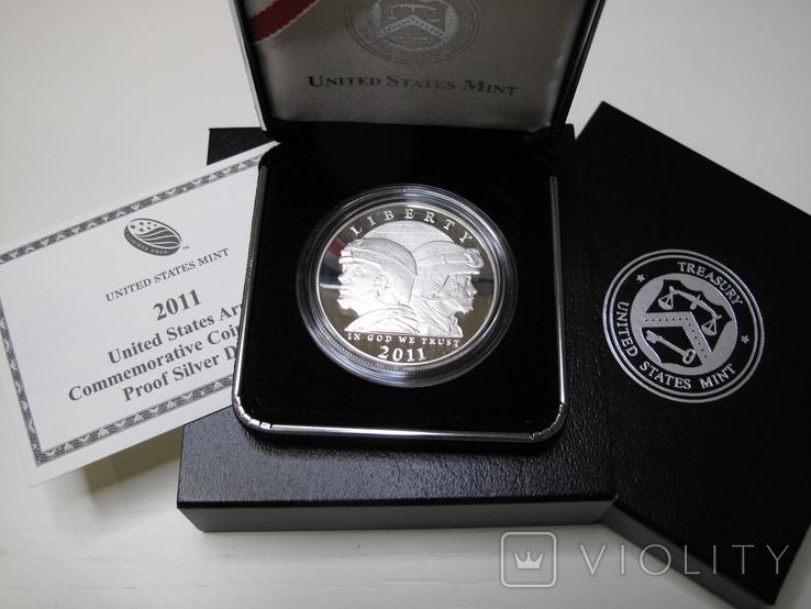 "1 доллар США (серебро): ""Армия США"" (2011 г.) Proof, фото №2"