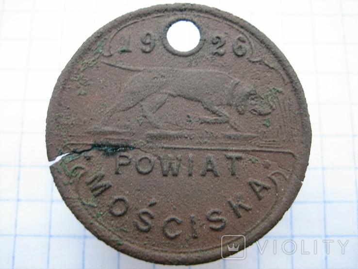 "Собачий жетон ""Powiat Mosciska 1926"" №1531, фото №2"
