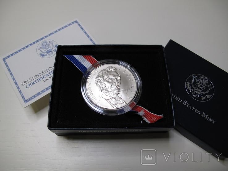 "1 доллар США (серебро): ""Абрахам Линкольн"" (2009 г.) UNC, фото №2"
