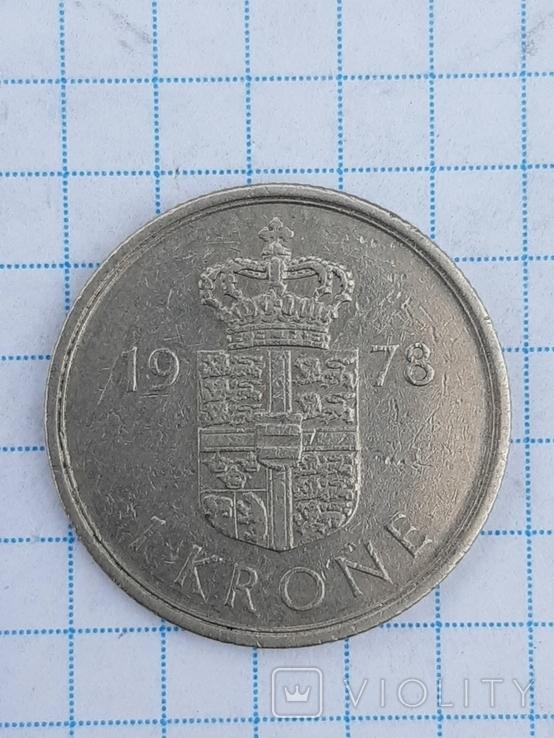 1 крона, Дания 1978 год., фото №2