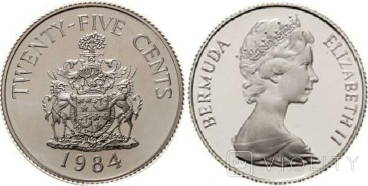 Бермуды, 25 центів, 1984, срібло