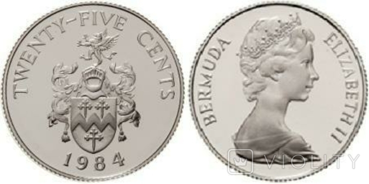 Бермуды, 25 центів, 1984, срібло, RAR