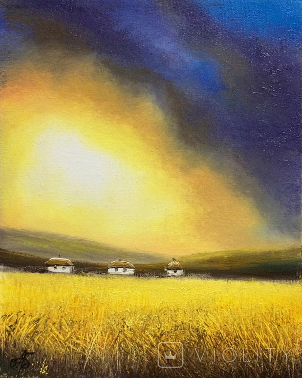 Картина, Між небом та полем, 25х20 см. Живопис на полотні, фото №2