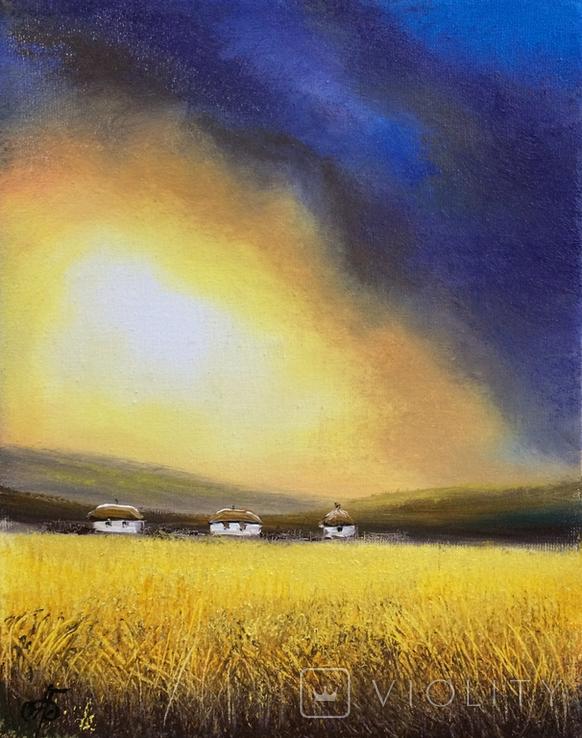 Картина, Між небом та полем, 25х20 см. Живопис на полотні, фото №5
