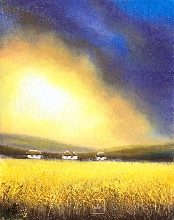 Картина, Між небом та полем, 25х20 см. Живопис на полотні, фото №6