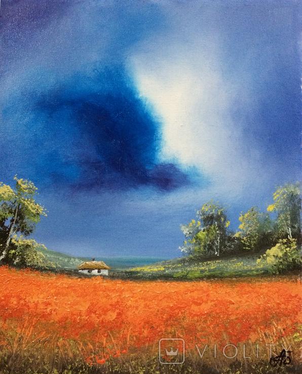 Картина, Фантазії на тему літа, 25х20 см. Живопис на полотні, фото №5