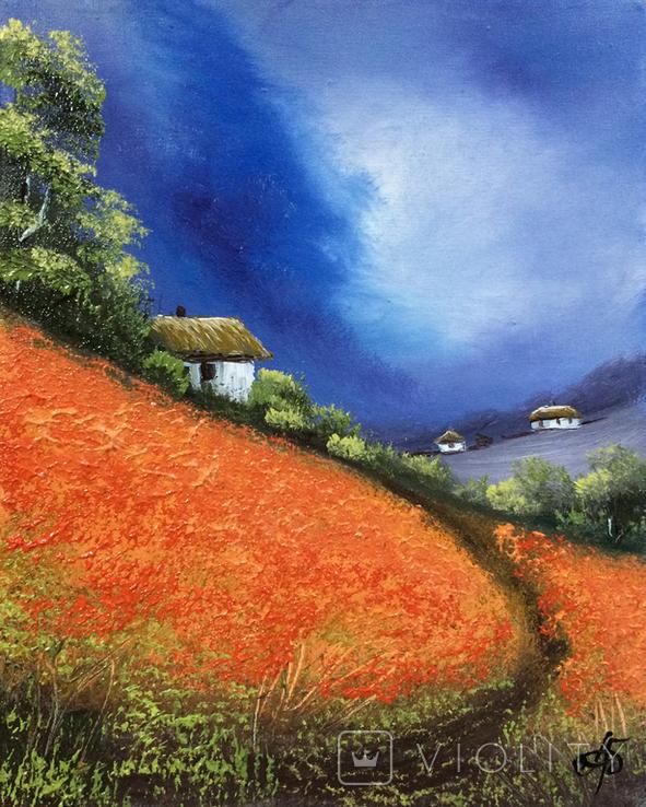 Картина, Яскраві думки про літо, 25х20 см. Живопис на полотні, фото №4