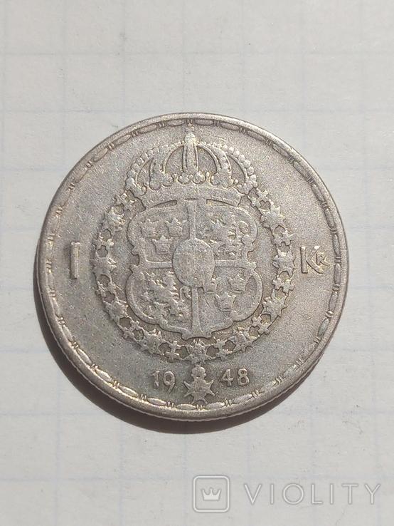 1 крона 1948 Швеція срібло, фото №2