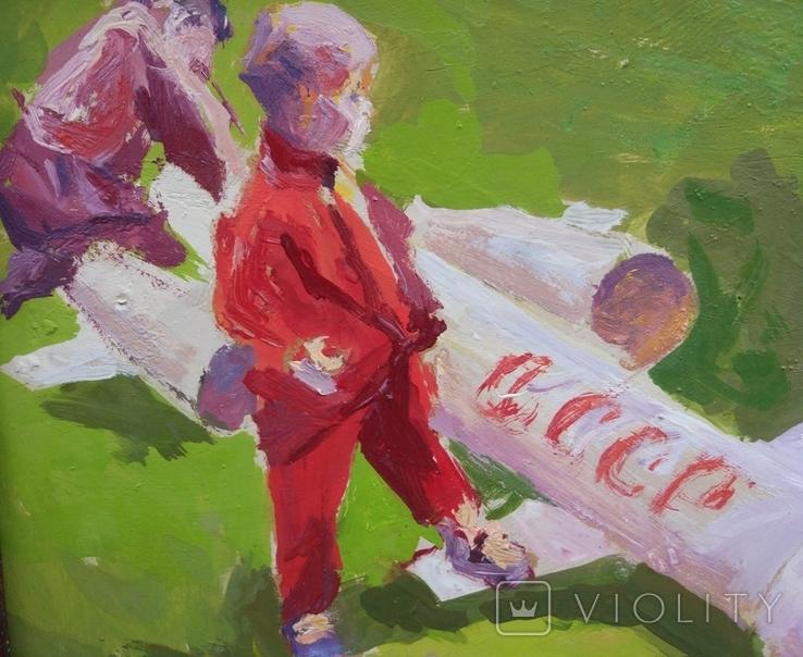 """В.Кнышевский""""Юные ракетчики,""""33*53см, орг.м., 1982г, фото №8"""