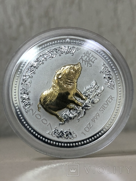 1 доллар 2007 Австралия,год Свиньи, фото №2