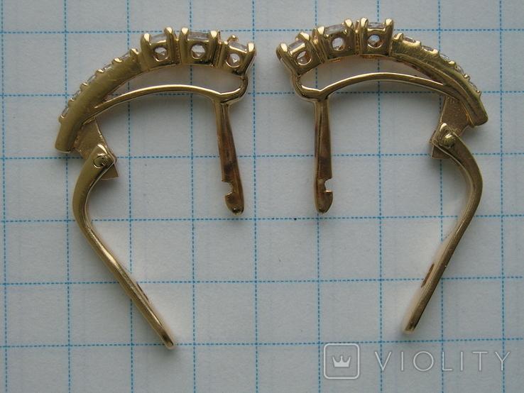 Серьги золотые 585 пробы Украина 2.95 гр., фото №4