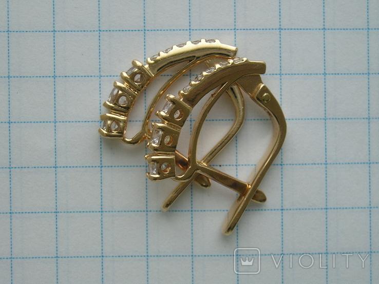 Серьги золотые 585 пробы Украина 2.95 гр., фото №5