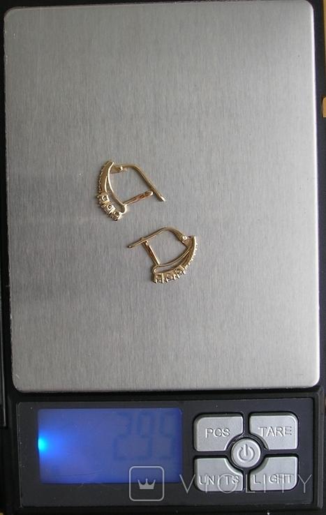 Серьги золотые 585 пробы Украина 2.95 гр., фото №11