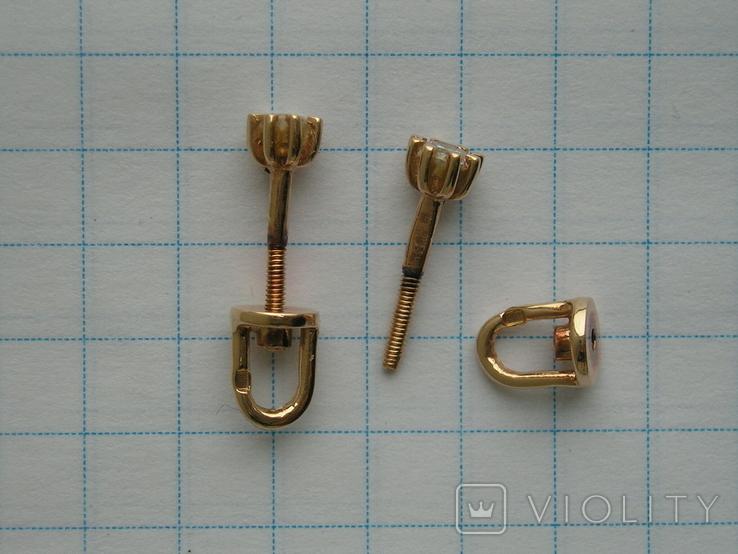 Серьги гвоздики золото 585 пробы Украина 1.25 гр., фото №3