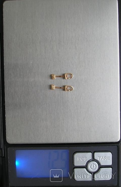 Серьги гвоздики золото 585 пробы Украина 1.25 гр., фото №12