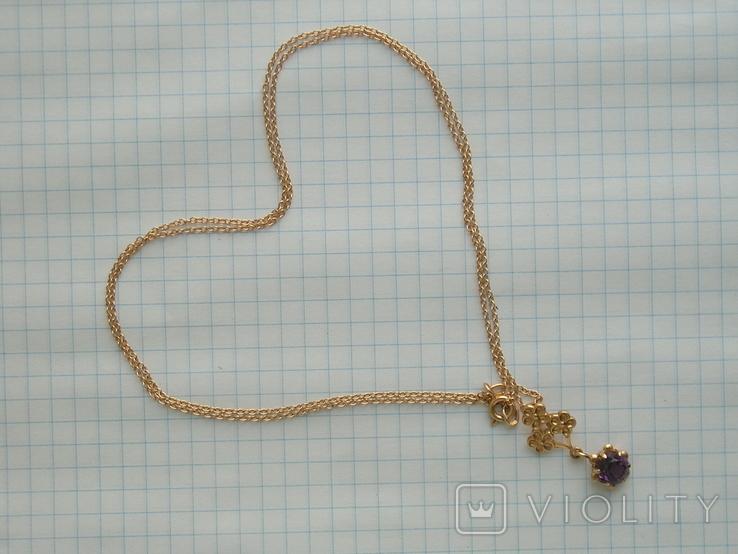 Золотой кулон с цепочкой 583 проба 5.1 гр. СССР, фото №2