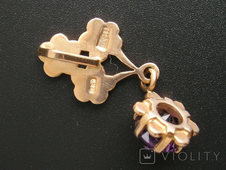Золотой кулон с цепочкой 583 проба 5.1 гр. СССР, фото №8