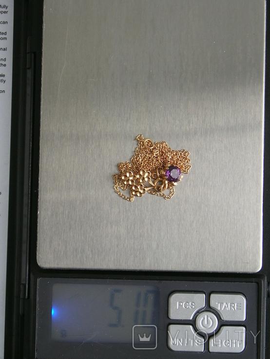 Золотой кулон с цепочкой 583 проба 5.1 гр. СССР, фото №11
