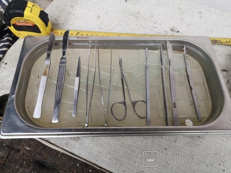 Медицинские инструменты лоток ножницы скальпель пинцет, фото №5