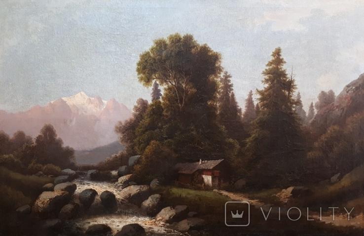 Картина. Альпійський пейзаж. Zopf J. (1838-1897). Кін. XIXст. (1185*815)